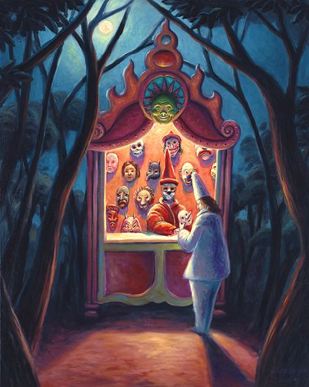 The Mask Shop by Mark Bryan: Gicl�e Print available at www.artfulhome.com