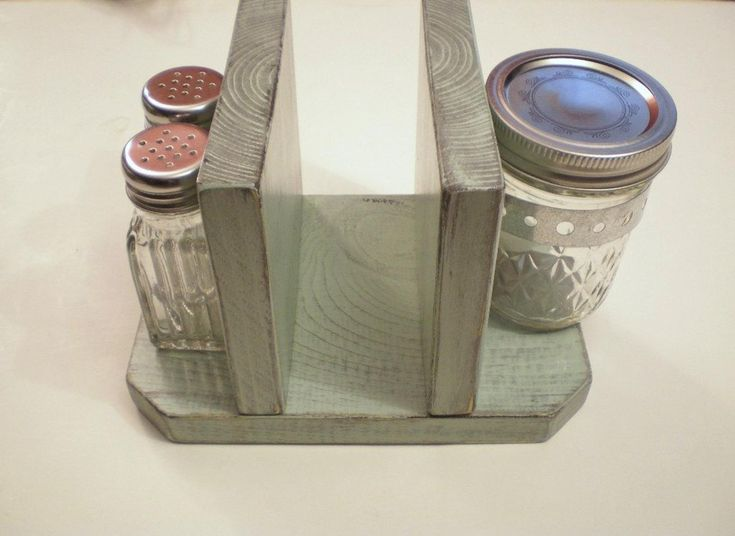 Primitive Rustic Napkin Holder, Desk or Table Organizer with Salt and Pepper Shaker & Jar, Shabby Ch