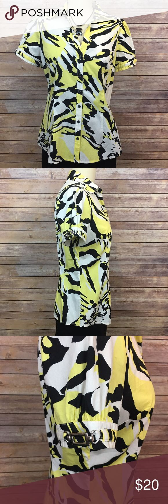 """Express Yellow, Black and White Short Sleeve Shirt Express Yellow, Black and White Short Sleeve Shirt. 97% cotton/ 3% spandex. Pit to pit 18""""/ length 24"""" Express Tops Button Down Shirts"""
