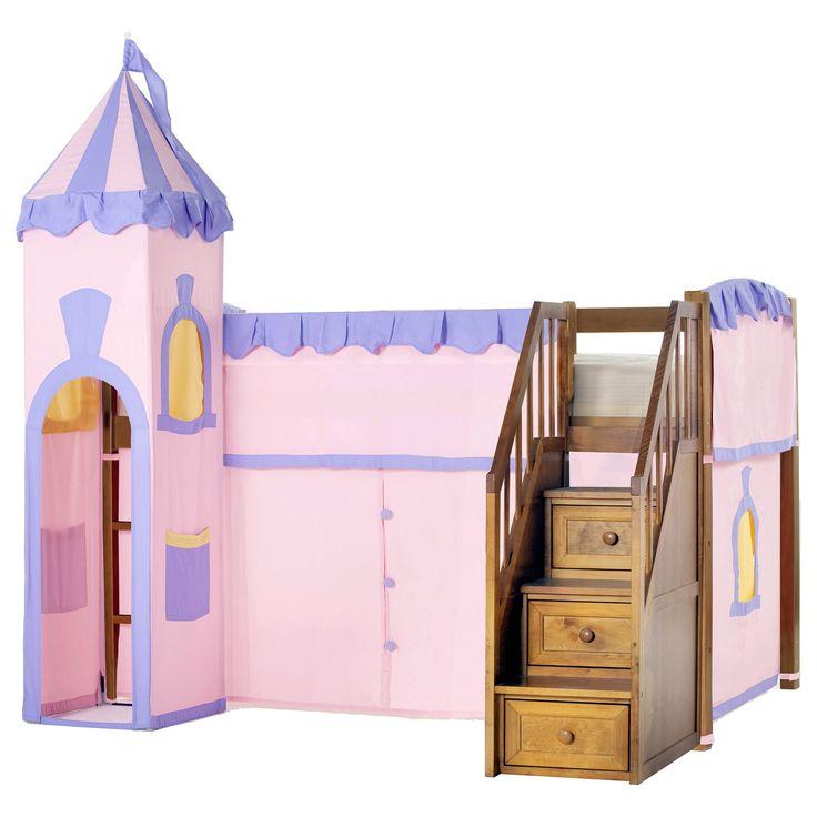 NE Kids School House Junior Loft Pecan with Stairs & Princess Tent