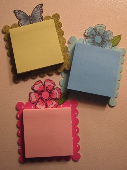 Scallop Die - chip board or thick card stock, embellishment, sticky note pad, magnetic strip - decorate scallop as desired.