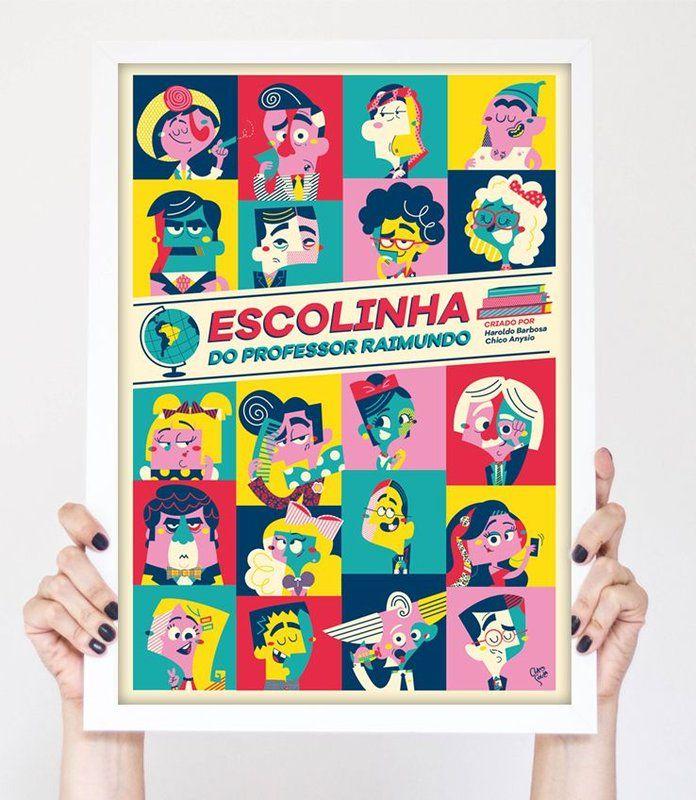 Pôster ESCOLINHA DO PROFESSOR RAIMUNDO criado pela ilustradora Clau Souza https://loja.tenhaborogodo.com.br/V3FJRSNDW-escolinha-do-professor-raimundo