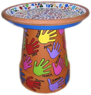 Handprints are traced and painted, and labeled with the artists names.