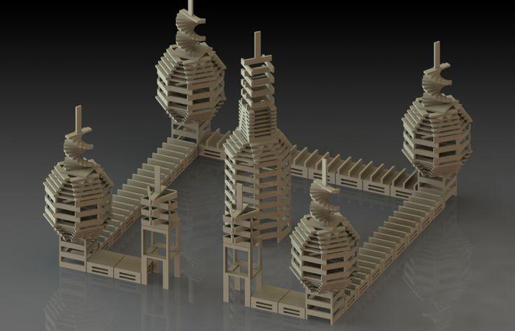 """Kapla Art by flegendre """"Pour ceux qui ont des enfants, comme moi, vous connaissez sans doute les fameuses petites planchettes de bois """"KAPLA"""" Voici une """"petite"""" construction de 1436 pièces modélisée sous SolidWorks (avec rendu réaliste simple sous PhotoView 360)."""" CAO, CAD, 3D, Lynkoa"""