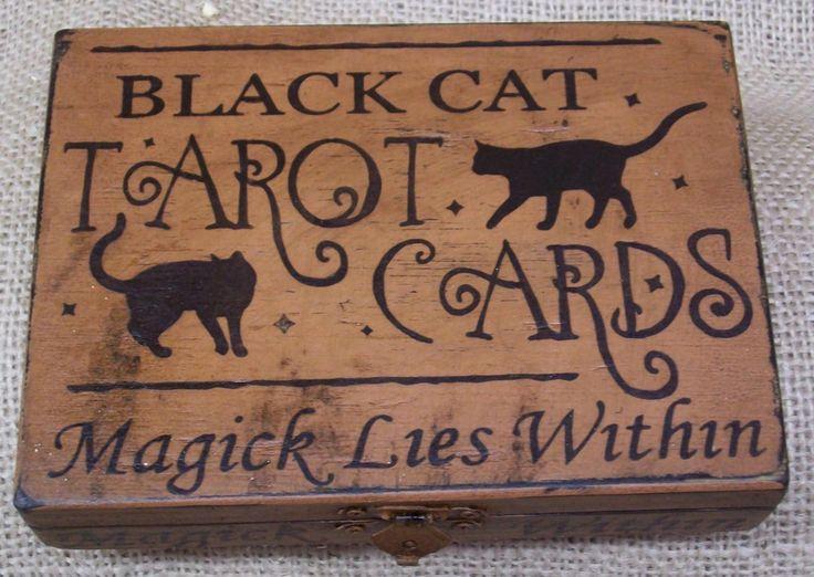black cat tarotPrimitives Halloween, Cat Tarot, Tarot Cards, Black Cats, Wood Boxes, Cards Boxes, Magick, Halloween Wood, Primitive Halloween