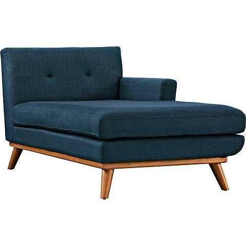 Engage 36 1 2 Quot Wide Azure Blue Tufted Right Arm Chaise