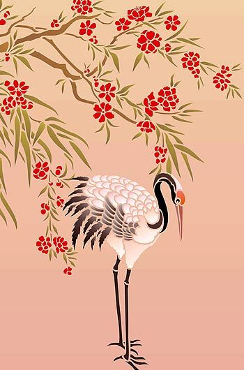 Large Crane Stencil if we ever have another baby id like to decorate with cranes, it would go nicely with stellas geisha theme and its good for a boy or a girl and there is some crane fabric that was park of the same time stellas bedding was made out of