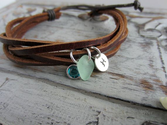 Brown Leather and Hemp Genuine Sea Glass and Sterling Silver Initial Charm Bracelet with Swarovski Crystal Birthstone, Boho Jewelry