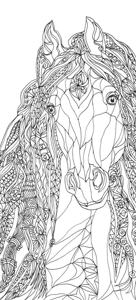 Coloring Pages Horse Printable Adult Book Clip Art Hand Drawn Original Diy Gifts For Parents