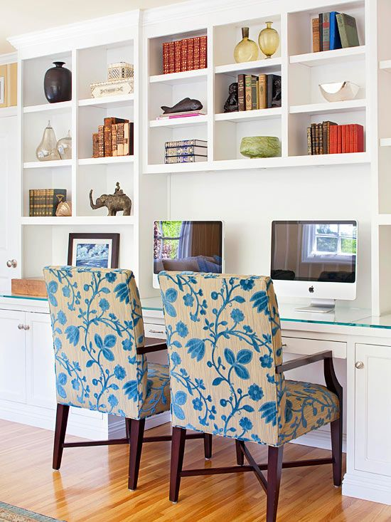 Built-in bookcases set the stage for a perfect workspace: http://www.bhg.com/decorating/storage/shelves/bookshelves-styles-sizes-photos/?socsrc=bhgpin090714gettowork&page=3