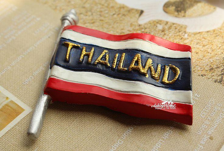 Fridge Magnet, Hand Painted, 7 x 5.5 cm, Thailand's Flag