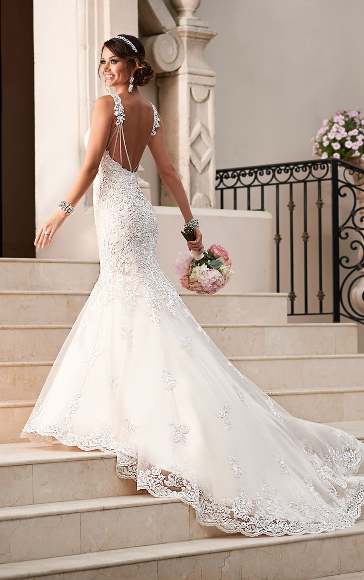 View Dramatic And Elegant Lace Over Lustre Satin Fit Flare Wedding Dresses