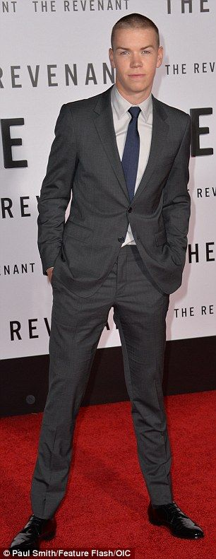 Up and comer: Young actor Will Poulter was also in attendance in a grey two-piece suit