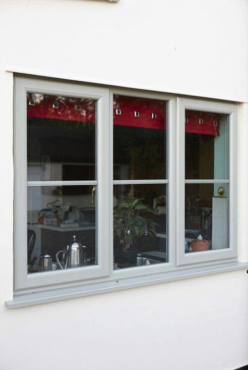 Grey upvc window.