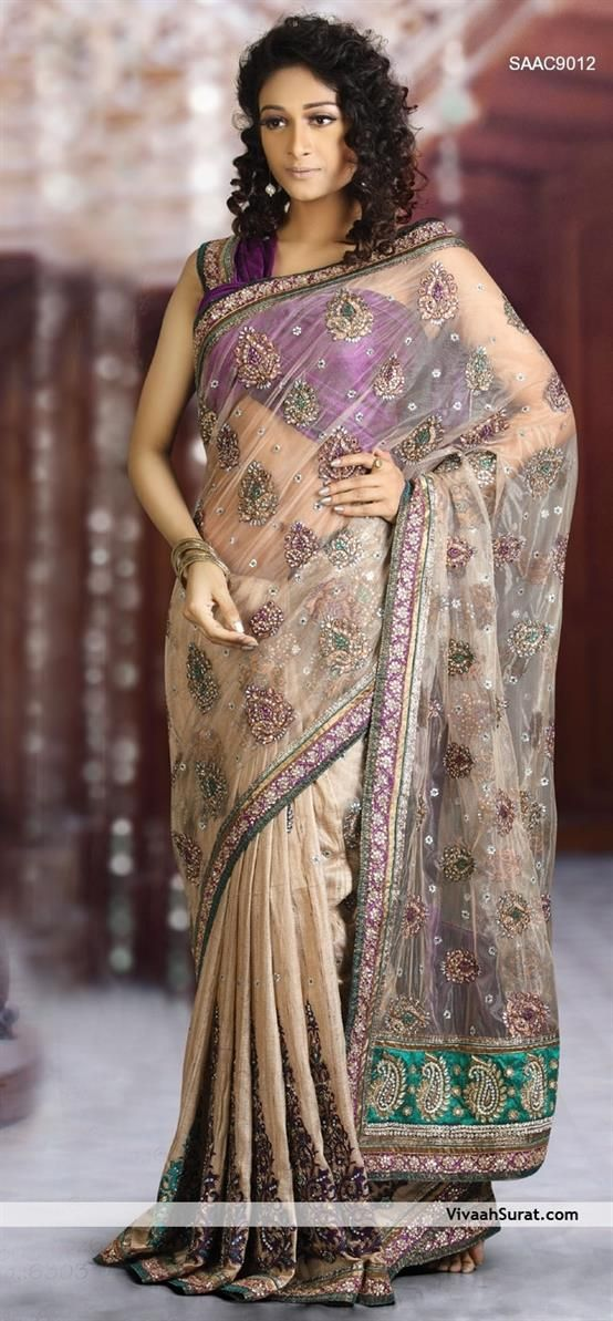 Magnificent Motif Net And Silk Saree