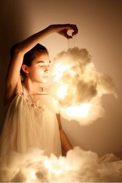 LED cloud lantern. Cute for a sky-themed nursery with some planes and hot air balloons!