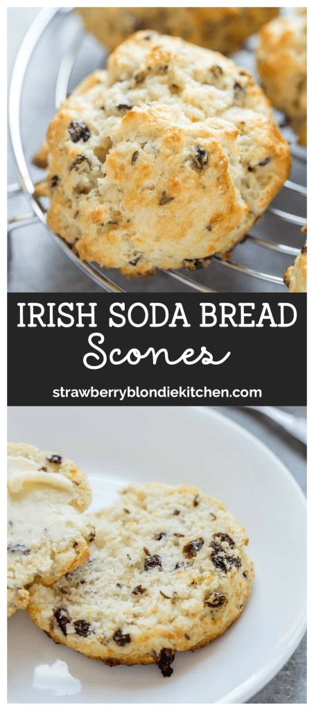 Irish Soda Bread Scones are buttery, tender and slightly sweet from the addition of orange zest, which is delightful!  They're quick, easy and perfect for breakfast, afternoon tea and everything in between!  #Irishsodabread #irish  #stpatricksday #stpatricksdayfood #sodabread #breadrecipe #breadbakers #Irishrecipes #Irishfood #stpatricksdayfood