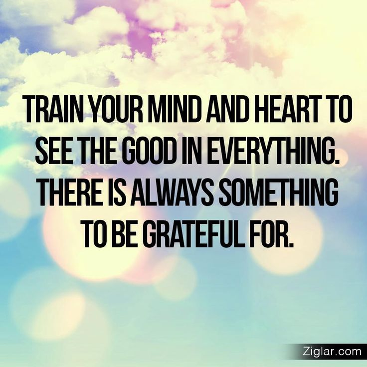Train your mind and heart to see the good in everything. there is always something to be grateful for. - Ziglar Vault