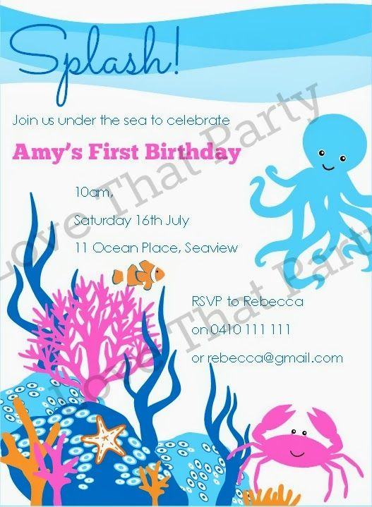 69 best images about Under the Sea Party – Ocean Party Invitations