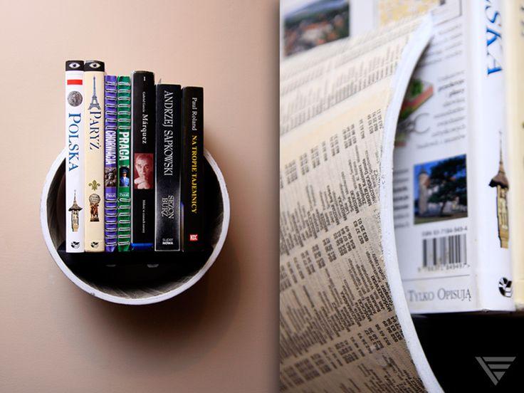 """Półka """"ŻółtaStrona"""" - półka z kartonu i drewna w Piąty Element na DaWanda.com"""