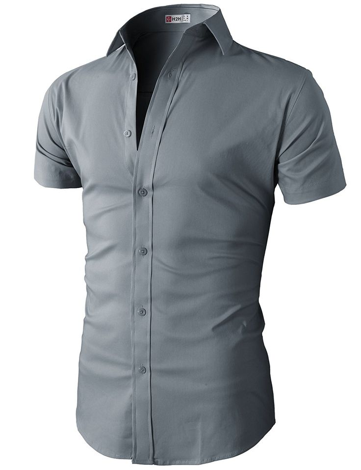 H2H Mens Slim Fit Solid Short Sleeves Dress Shirts of Various Colors at Amazon Men's Clothing store: