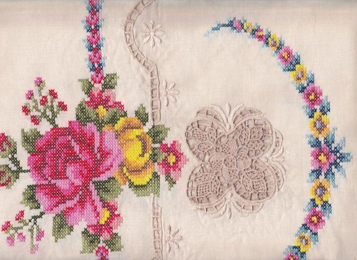 PUNTO IN ARIA VENETIAN LACE & CROSS STITCH ROSES #TABLECLOTH  https://thelaceandlinensco.com/store/products/punto-in-aria-venetian-lace-cross-stitch-roses-tablecloth  #linen #lace #battenburg #dining #gifts