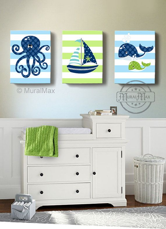 Nautical Boy Nursery Decor - Sailboat Octopus Whale Canvas Art Beach Ocean Décor -Set of 3 Canvas Wall Art - Blue Green Decor
