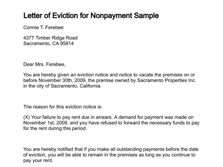 Printable Sample Letter Of Eviction Form