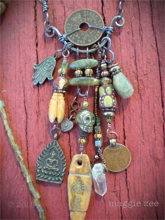 Bredvid familjefoton och arvegods,., sovrum.,,,////Prayer for the Ancestors Shaman Amulet Necklace by maggiezees