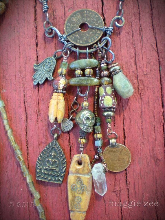 Prayer for the Ancestors Shaman Amulet Necklace by maggiezees