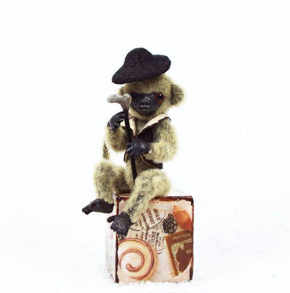 Tiny monkey - Teddy monkey - Mini monkey - OOAK Handmade - New Year's gift - 4 inch (10 cm) cute monkey boy Artur