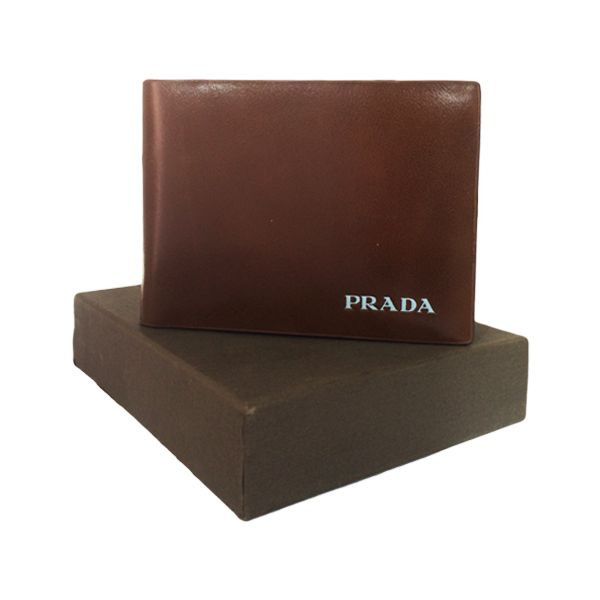 prada brown leather wallet