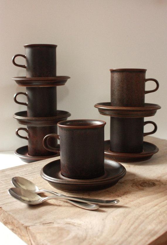 Arabia Ruska Demitasse Six Piece Coffee Set By