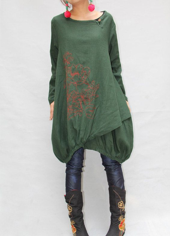 Women autumn dress/ loose linen dress/ blouse shirt In by MaLieb
