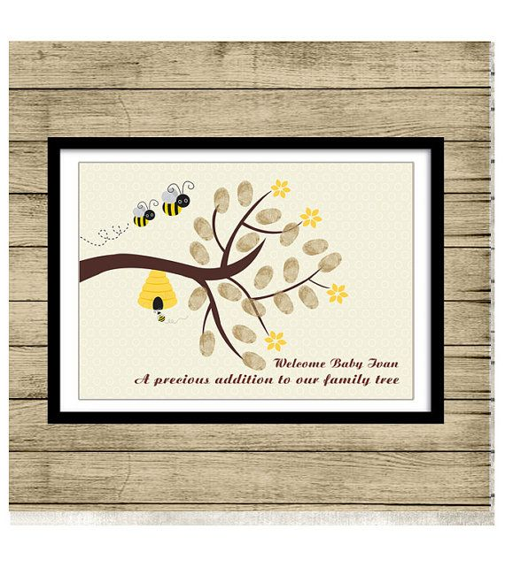 Bee Fingerprint tree PRINTABLE Thumbprint Tree Guest Book Poster, Nursery Wall Art,  Custom Text, Color and Language available op Etsy, 15,00 €