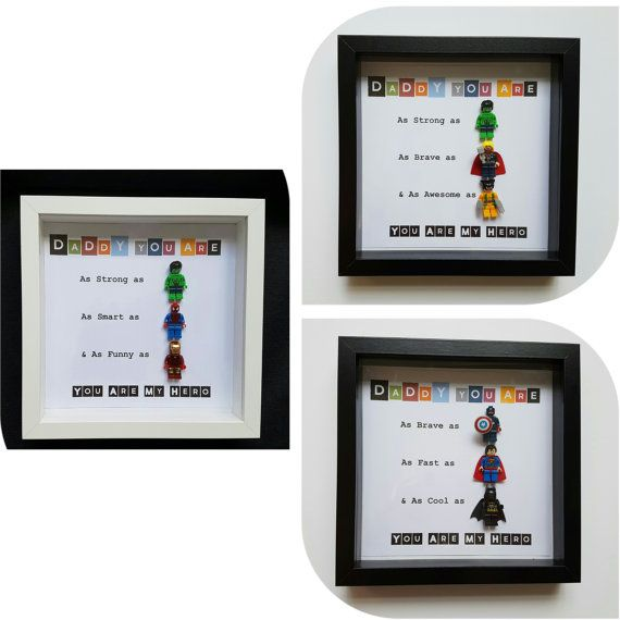 Superheros lego frame. Fathers day/ birthday. by FunkyFramesStore