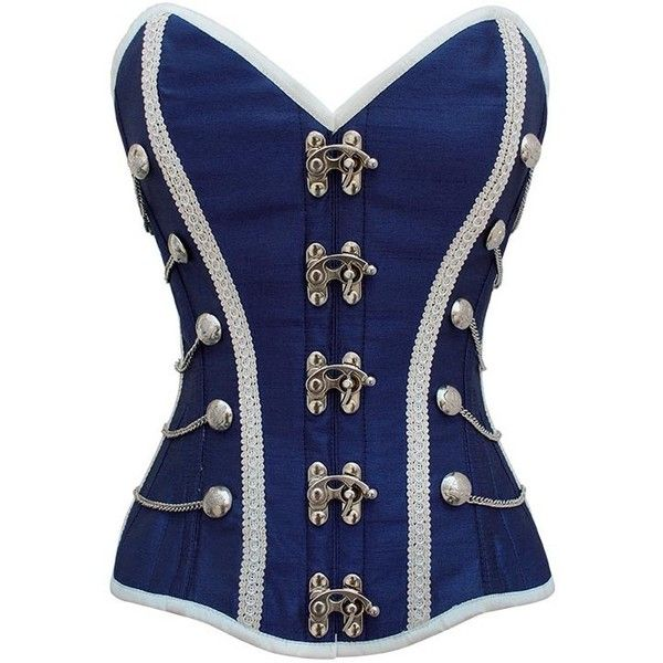 Blue Military Inspired Steel Boned Corset ❤ liked on Polyvore featuring tops, corsets, shirts, blue and military fashion