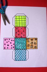 Fifth Grade Geometry Activities: Create a Cube and Find Its Surface Area:  Templates to print out. Process, product.