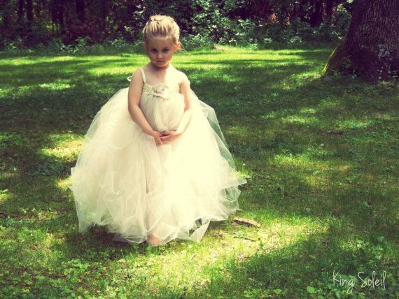 Champagne Flower Girl Tutu Dress Tulle Tutu with by KingSoleil, $160.00
