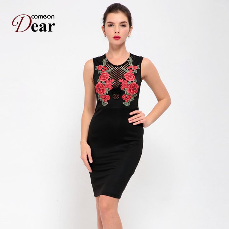 6fd82c2c7c RJ80446 Comeondear Vestidos Verano 2017 Elegant Black Embroidery Party  Summer Dresses Casual Shoulder Hollow Out Bodycon