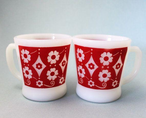 Rare Anchor Hocking/Fire King Mugs Rare Design by TheGroovyMagpie