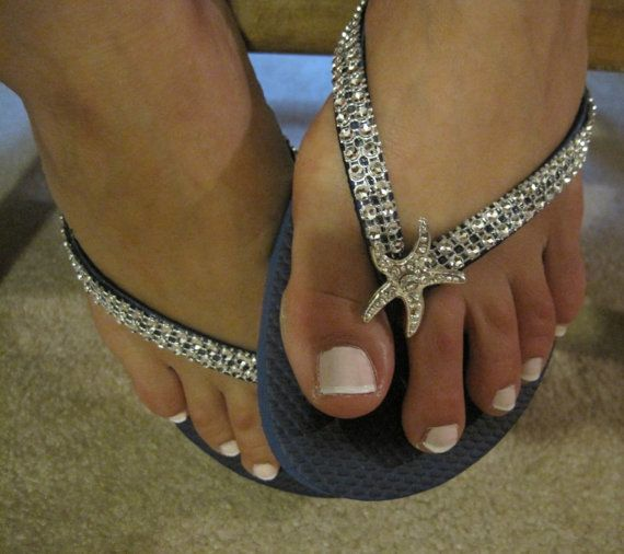 So Sweet Bride Angela Deluxe Rhinestone Starfish Bridal Wedding Flip Flops via Etsy