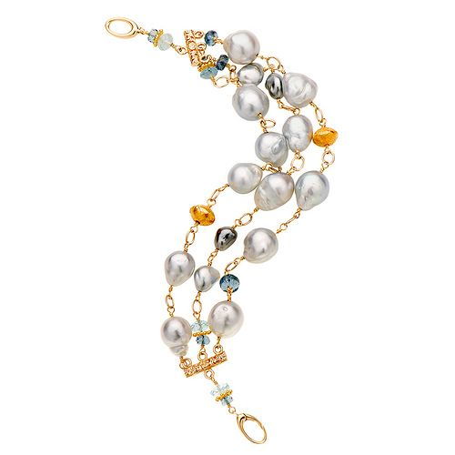 Silver/Blue South Sea pearls and aquamarine bracelet