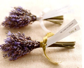 Lavender Seating Cards    For an aromatic seating card, two strips of paper -- with the guest's name printed on one end and the table number on the other -- are tied with satin ribbon to lavender wrapped with floral tape.