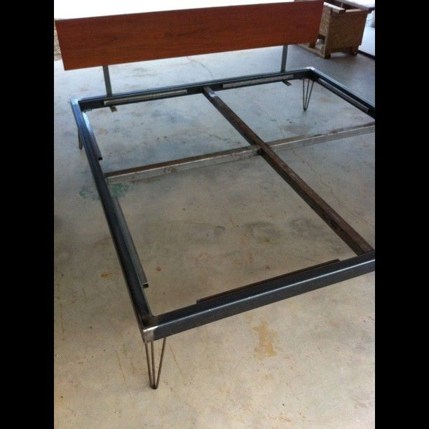 king size bed frame for sale 500 welded steel tube with hair pin legs and a rosewood. Black Bedroom Furniture Sets. Home Design Ideas