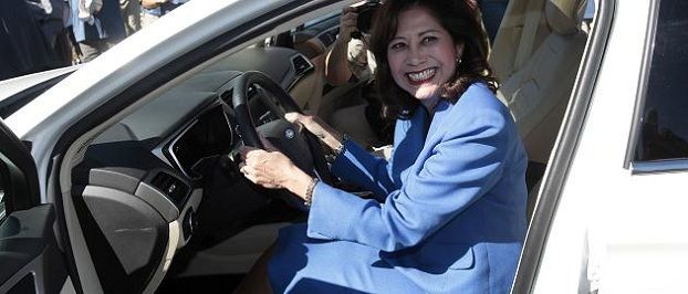 U.S. Department of Labor Secretary Hilda Solis sits in a 2013 Ford Fusion during a press conference to announce the future production of the Ford Motor Fusion vehicle at the newly named Flat Rock Assembly Plant in Flat Rock, Michigan