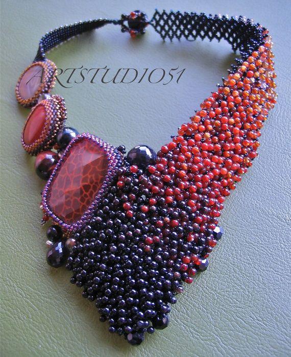 Oak Leaf Burning  Beadwork Necklace by ARTSTUDIO51 on Etsy, $2800.00