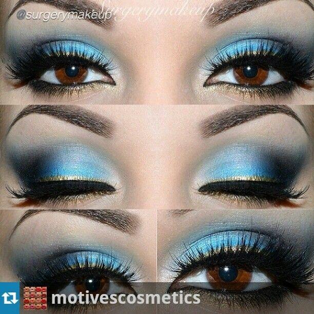 pretty light blue and gold eyeshadow