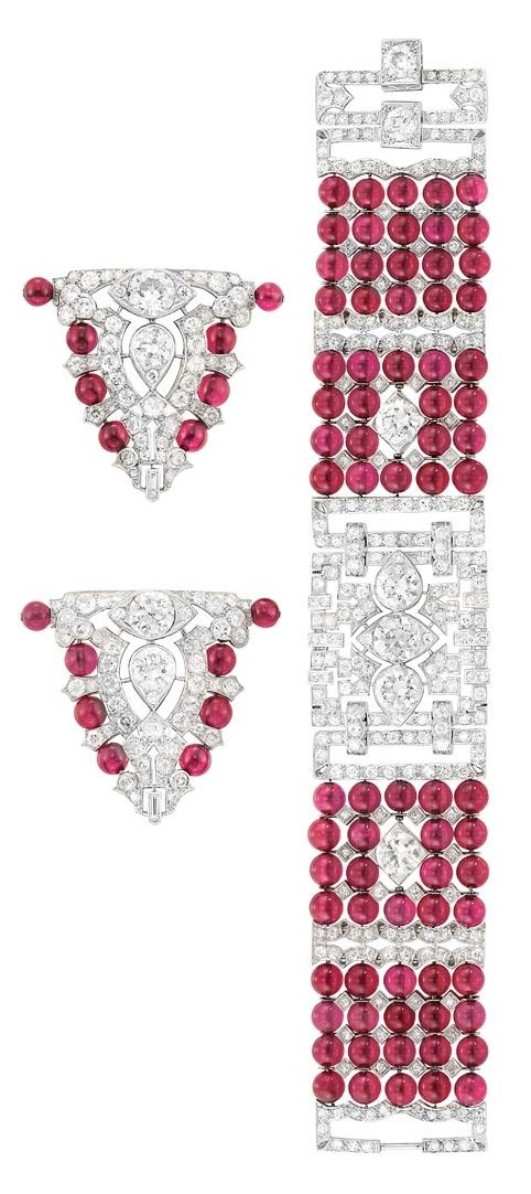 Art Deco Ruby Bead Bracelet and Clip-Brooches