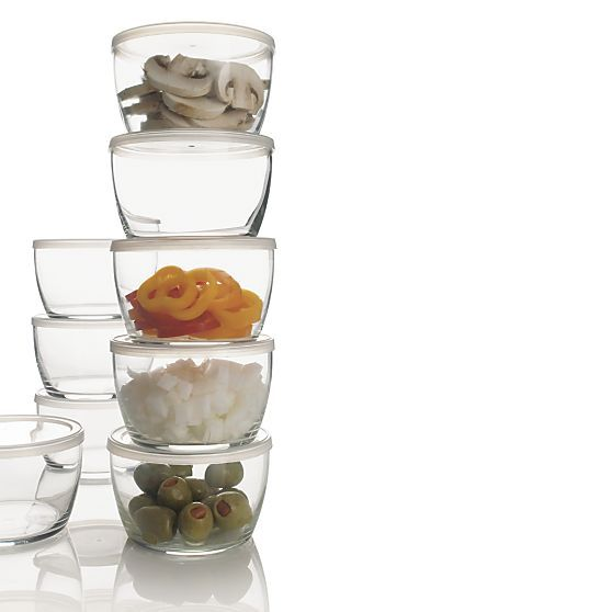 Set of 12 Storage Bowls With Clear Lids in Food Storage | Crate and Barrel